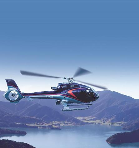 Helicopter Flying Over the Marlborough Sounds